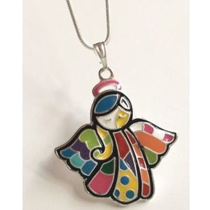 "Silver Angel Necklace Pop Art 18"" Patchwork"